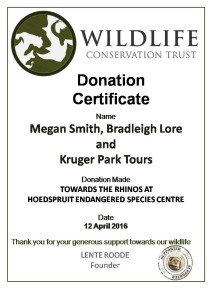 Rhino Donation Certificate Kruger Park Tours M Smith and B Lore 12 April_ 2016